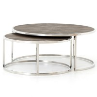 Hollywood Shagreen Nesting Coffee Tables - Stainless Steel ...