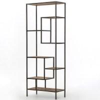 "Geometric Reclaimed Pine Wood + Iron Bookcase 84"" | Zin Home"