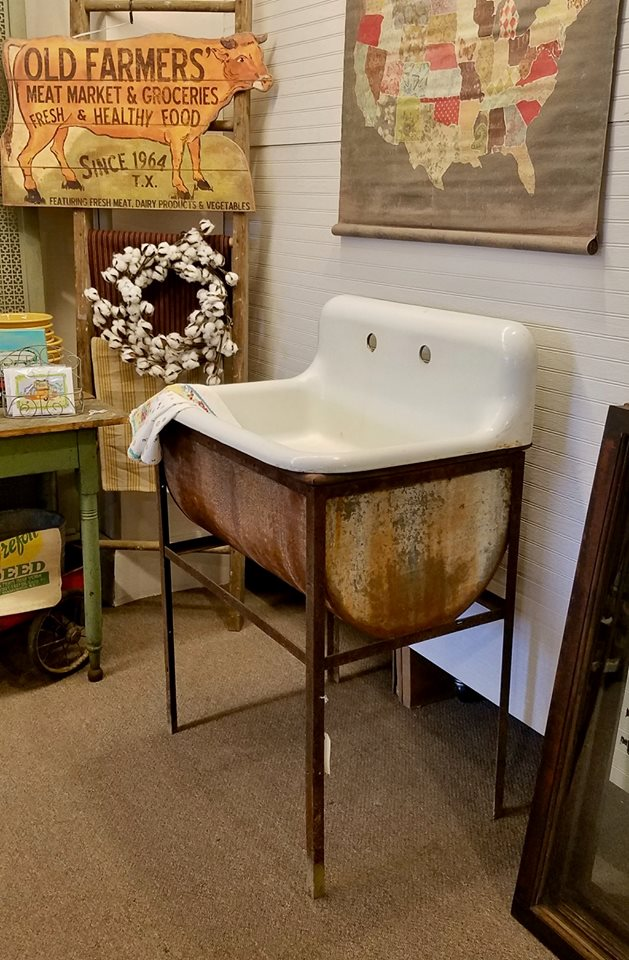 What Is A Farm Sink Cast Iron Sink And Wash Stand - Marmalade Mercantile