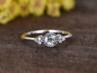 0.5 Carat Round Aquamarine Diamond Engagement Ring 14k