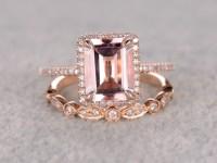 2.5 to 3 Carat Emerald Cut Morganite Engagement Ring Set ...