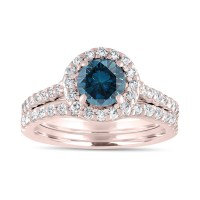 1.84 Carat Fancy Blue Diamond Engagement Ring Set, Bridal ...
