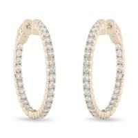 1 Inch Inside Out Diamond Hoop Earrings, Diamond Hoop ...