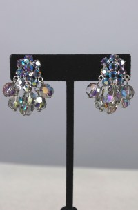 Blue rhinestone earrings 1960s crystal drops 60s clip