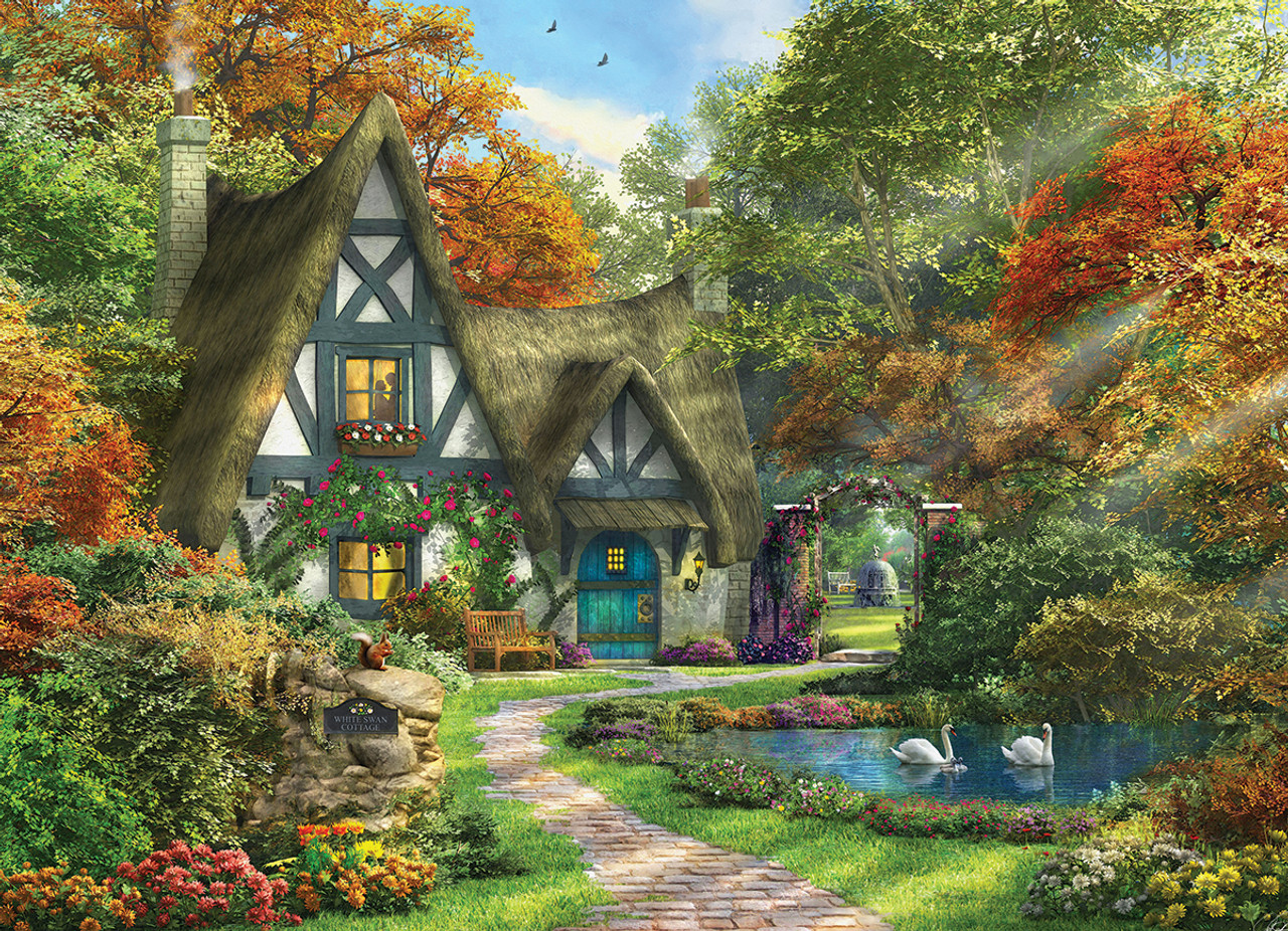 Fall Cottage Wallpaper Dominic Davison White Swan Cottage 300pc Jigsaw Puzzle