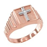 Rose Gold Christian Cross Square Mens Ring