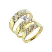 Gold CZ 3-Piece Wedding Ring Set