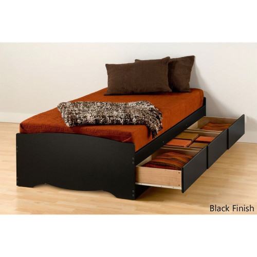 Twin Bed Frame With Storage Twin Xl Platform Bed Frame With 3 Storage Drawers In Black