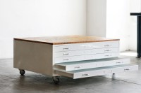 Flat File Coffee Table in Gloss White with Reclaimed Wood ...