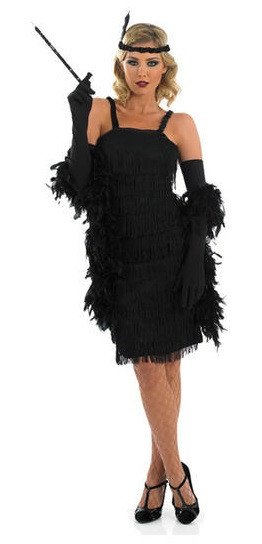 Kleider 80er Style Ladies Black Flapper Fancy Dress Costume - Fancy Me Limited