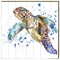 Sea Turtle Watercolor Wood Art Panel | 30x30 | Mill Wood Art