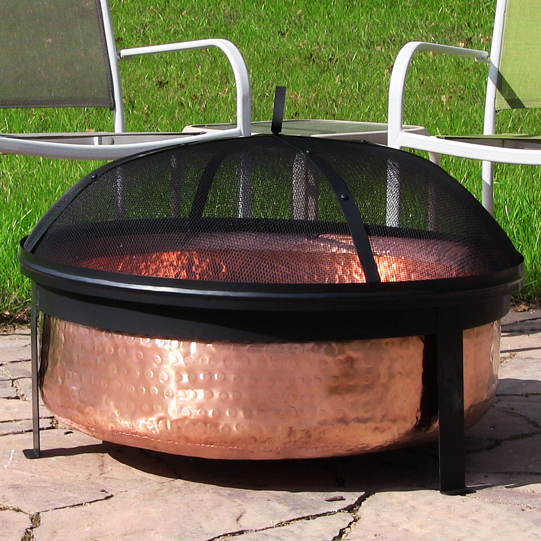 Fire Pit Big W Sunnydaze Hammered Copper Fire Pit W Screen 30 Inch