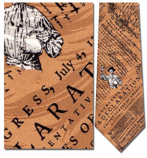 Declaration of Independence Gold Necktie : Museum Shop Tie