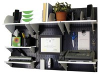 Wall-Mounted Home & Office Organizer Kit - Black Wall ...