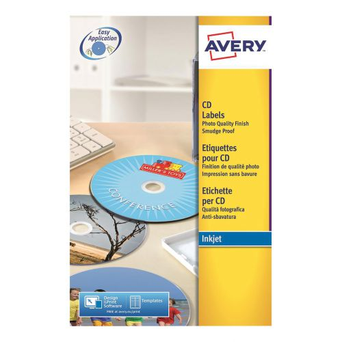 Avery CD/DVD Labels Laser 2 per Sheet Dia117mm Full Face Opaque