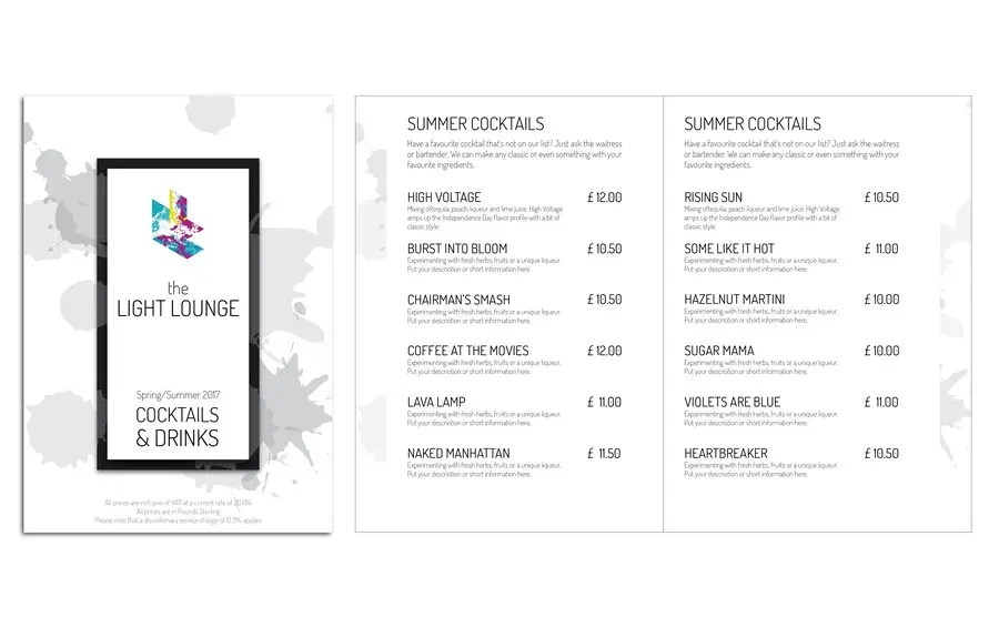 Entry #47 by ytingchristy for Cocktail and Drinks Menu Template