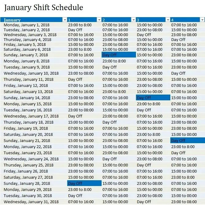 Entry #20 by Deziraye for Plan a Working Shift Schedule in Excel