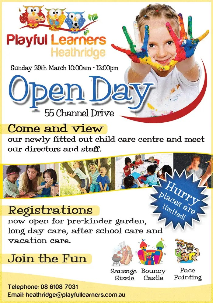 Daycare Flyers Design A Flyer For Child Care Centre Open Day Flyer - daycare flyer