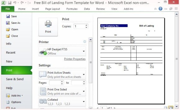 Excel Bill Of Lading Template Bill Of Lading Document Free Bill Of Lading Form Template For Excel Powerpoint
