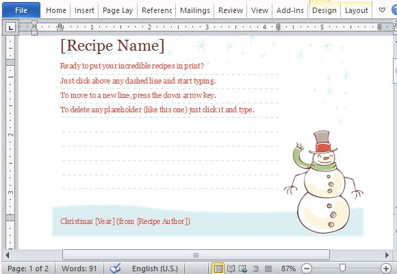 microsoft recipe card template