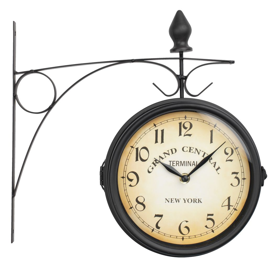 New York Klok Railway Station Clock Runar D21cm Black