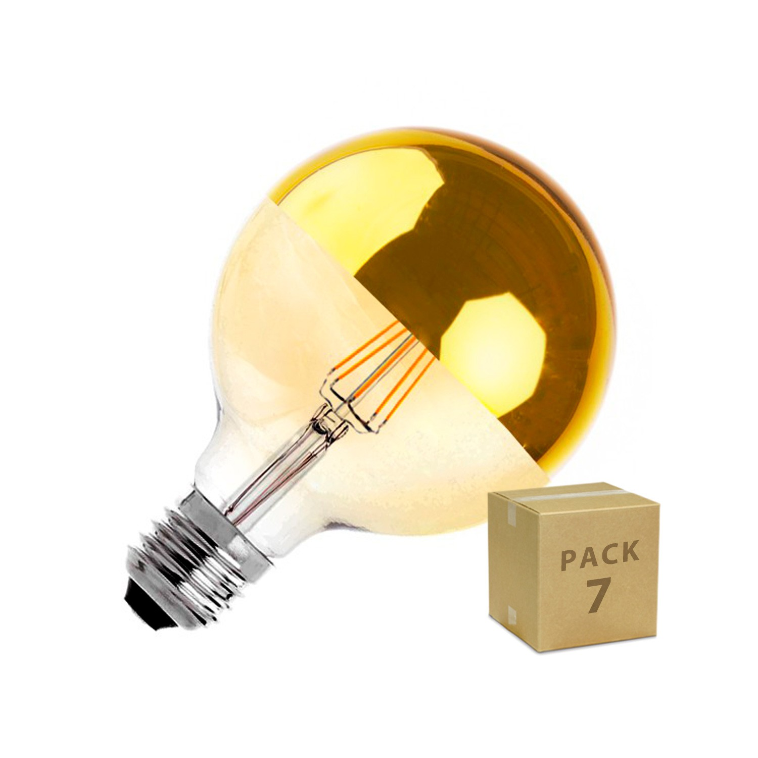 Lampe Gold Pack 7 Led Lampe E27 G125 6w Filament Reflect Supreme Gold Dimmbar