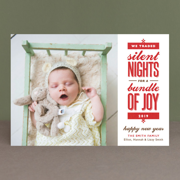 Silent-less Nights Holiday Birth Announcement Postcards by Carolyn