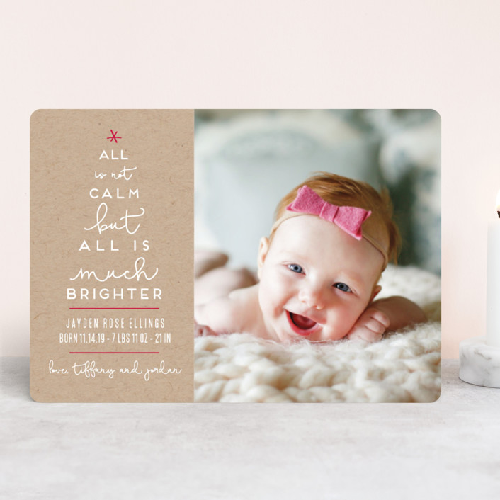 Less Calm More Bright Holiday Birth Announcements by Kaydi Bishop