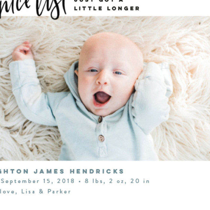 Made the Nice List Holiday Birth Announcements by Pink House Press