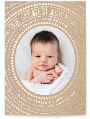 Bold Adventure Foil Pressed Birth Announcement Cards