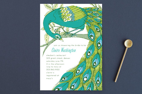 Elegant Peacock Bridal Shower Invitations by 2bird Minted