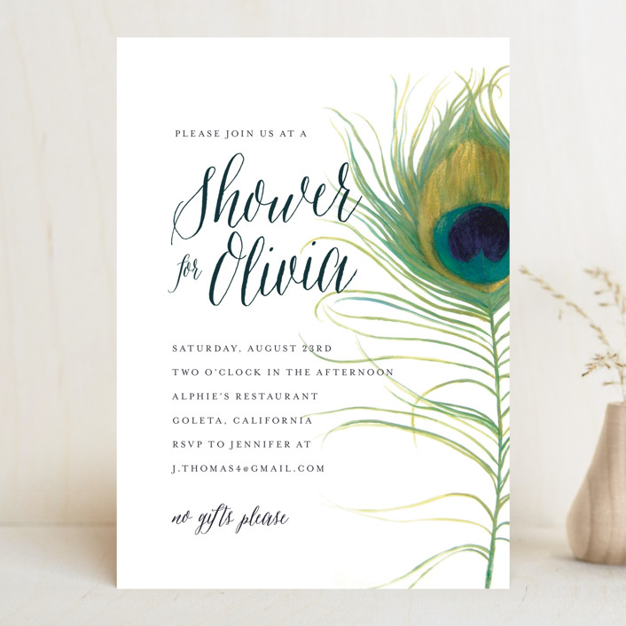 Peacock Bridal Shower Invitations by LChantel Minted