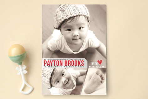 Proud Adoption Birth Announcements by Candace McRa Minted