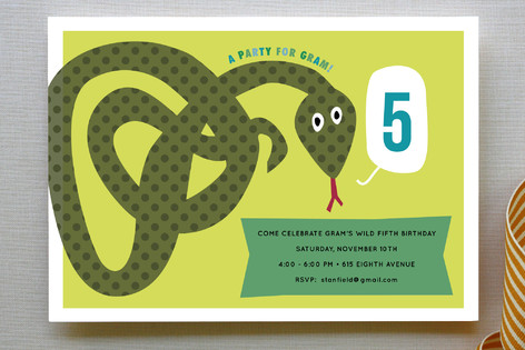 Snake Children39s Birthday Party Invitations By Sar Minted