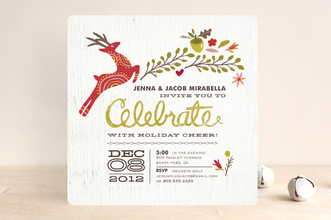 Rustic Celebration Holiday Party Invitations by Gr Minted - holiday celebration invitations
