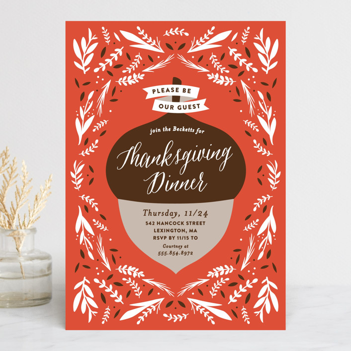 Thanksgiving Acorn Holiday Party Invitations by Olivia Raufman Minted