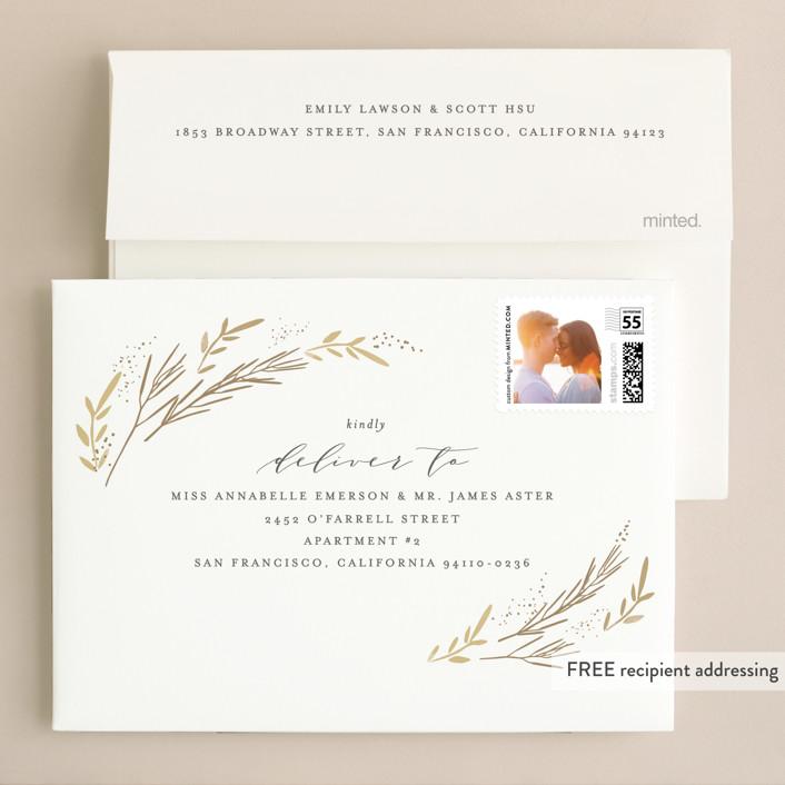 Wheat Field Foil Pressed Wedding Invitations By Kristie