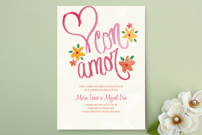 Con Amor Hand Painted Wedding Invitations