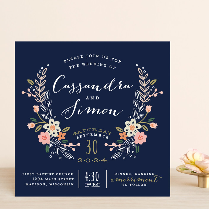 Wildflower Crest Wedding Invitations by Alethea and Ruth Minted