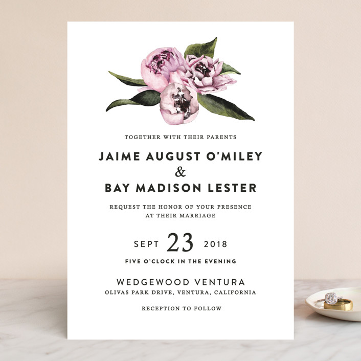 Peony Wedding Invitations by Cass Loh Minted - email invitations