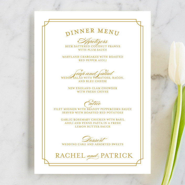 Luxe Border Menu Cards by Sarah Brown Minted