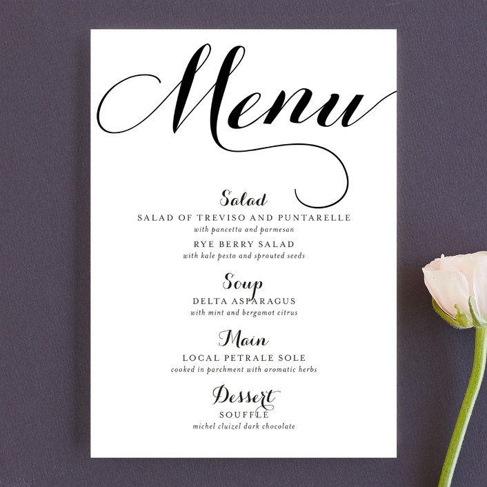 Modern Mint Menu Cards by Marabou Design Minted