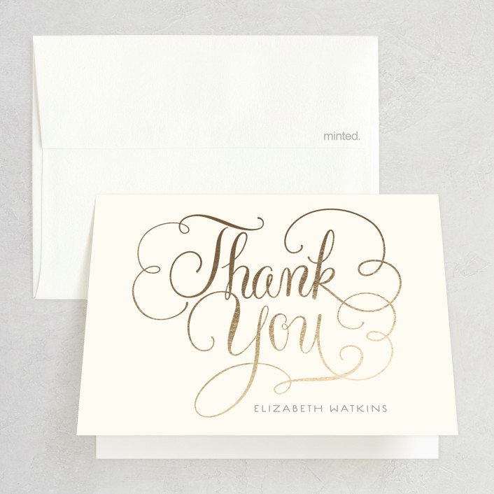 Flourished Foil-Pressed Bridal Shower Thank You Cards by Laura