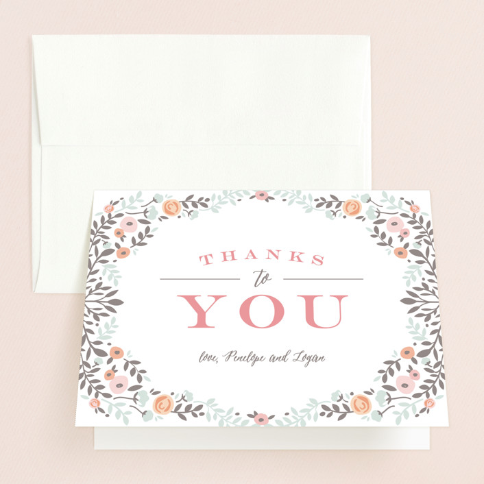 Lover\u0027s Floral Frame Bridal Shower Thank You Cards by Andrea Snaza