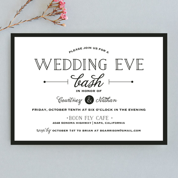 Wedding Eve Bash Rehearsal Dinner Invitations by Kaydi Bishop Minted