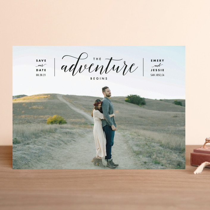 The Adventure Begins Save The Date Cards by Kelly Schmidt Minted
