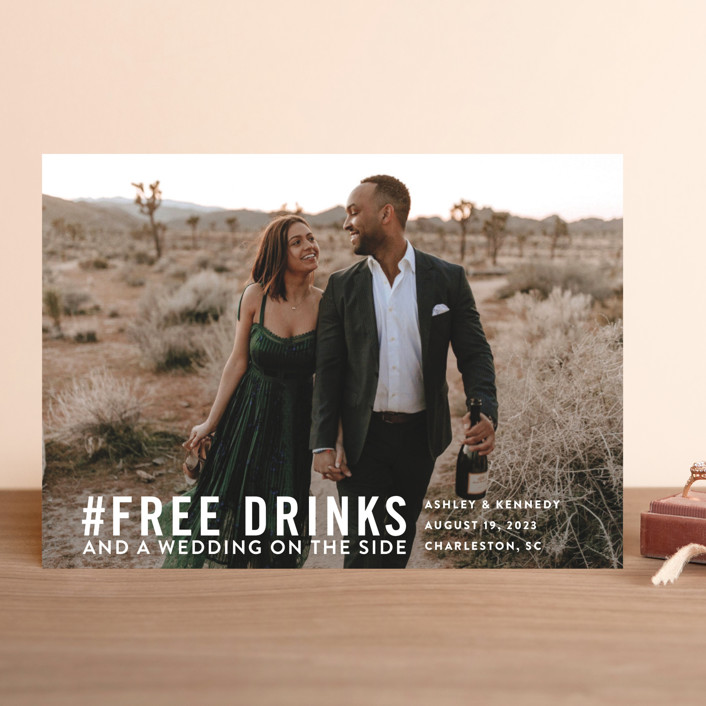 Free Drinks Save The Date Cards by Jennifer Lew Minted - free wedding save the dates