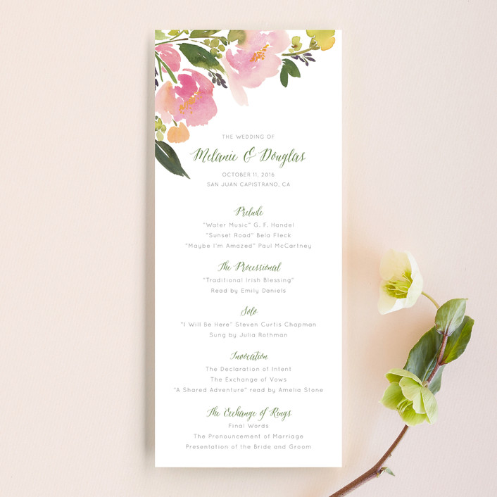 Watercolor Floral Unique Wedding Programs by Yao Cheng Design Minted