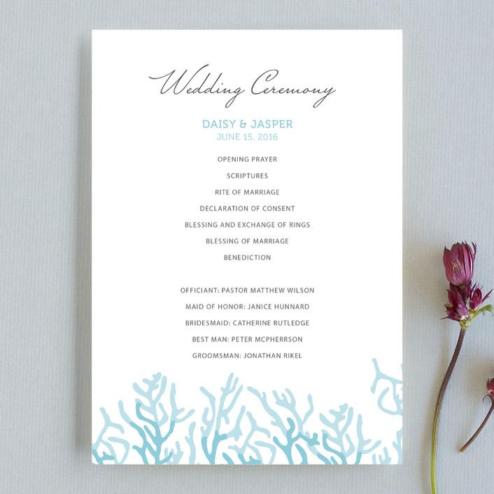 Simple Coral Unique Wedding Programs by SimpleTe Design Minted