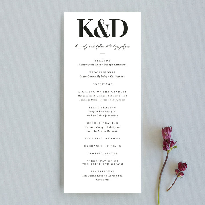 The Minimalist Unique Wedding Programs by Kelly Schmidt Minted